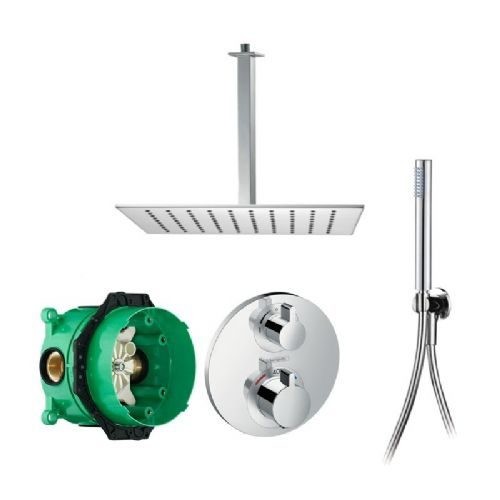 Abacus Emotion Plus Thermostatic Concealed Shower Kit With Square Shower Ceiling Arm And Hand Shower